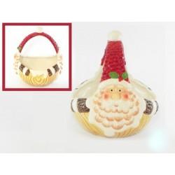Cestino ceramica con Babbo Natale 19x17x18