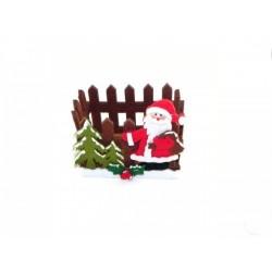 Cestino pannolenci tipo staccionata con Babbo Natale 13x10 H 11