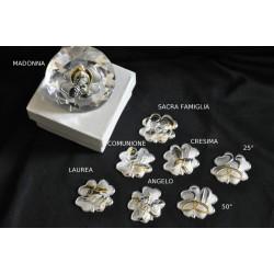 Diamante vetro  diam.5 con applicazione argento per ogni occasione con scatola