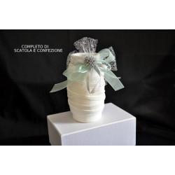 Vaso porcellana bianca opaca completo di scatola e confezione natalizia