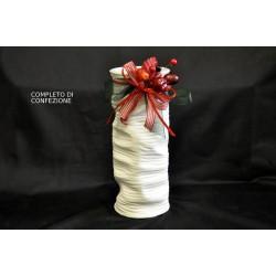 Vaso in ceramica bianca completo di confezione natalizia