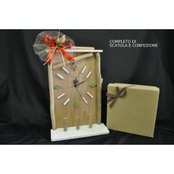 Orologio legno H 34 completo di scatola e confezione natalizia