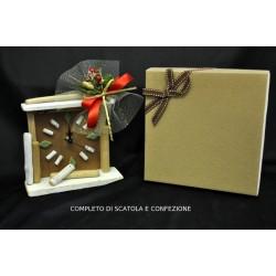 Orologio legno H 16 completo di scatola e confezione natalizia