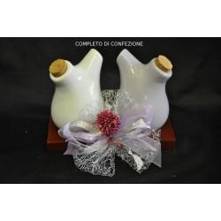 Olio e aceto ceramica lucida completa di confezione natalizia