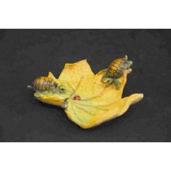 Coppia tartarughe resina su foglia 9x9