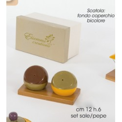 Sale e pepe in porcellana con base legno cm 12 H 6 con scatola