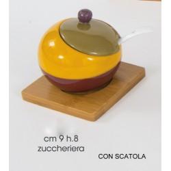 Zuccheriera in porcellana con base legno diam. 9 H 8 con scatola