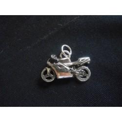 Ciondolo moto da corsa in ottone con bagno in argento CM 3 MADE IN ITALY