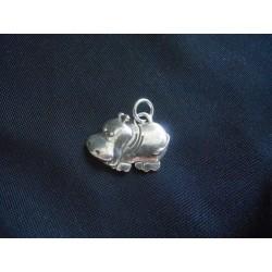 Ciondolo ippopotamo in ottone con bagno in argento CM 3
