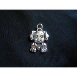 Ciondolo cane in ottone con bagno in argento CM 4 MADE IN ITALY