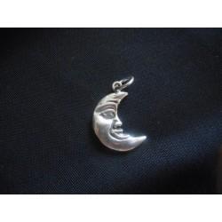 Ciondolo mezza luna in ottone con bagno in argento CM 3 MADE IN ITALY