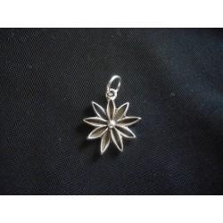 Ciondolo fiore in ottone con bagno in argento CM 2.5