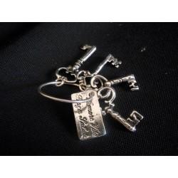 """Mazzo chiavi """"Amore, Vita, Forza, Salute"""" in ottone con bagno argento CM. 3 (chiave più lunga)"""