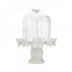 Alzatina vetro e ceramica con farfalline bianche CM 11