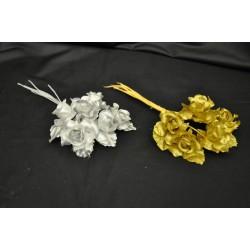Rosellina lamè con foglia oro o argento mazzo 6 pz