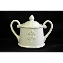 Zuccheriera ceramica bianca con decoro