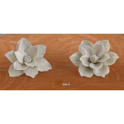 Fiore porcellana grigio con calamita CM 5