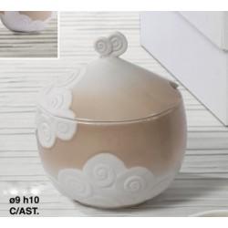 Zuccheriera in ceramica bianca e tortora con decoro nuvola Diam. 9 H 10 con scatola