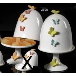 Alzata in ceramica bianca con decori farfalle Diam. 14 H 22 ass.2