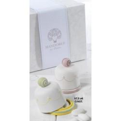 Scatola forma campana ceramica con decoro Cake H 8 Diam 6 con scatola