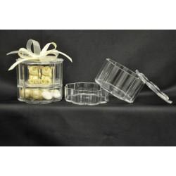 Scatola plexi doppio contenitore (per oggetto e confetti) Diam. 7 H 6