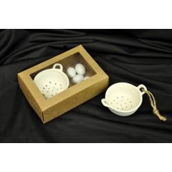 Scolapasta ceramica bianca Diam.7 H 3 con scatola cartoncino avana e pvc