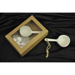Tegame ceramica bianca Diam.5 L. 10 con scatola cartoncino avana e pvc