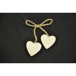 Coppia cuore legno con fiocchetto juta (cuore Cm 2.5x2.5)