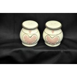 Sale e pepe ceramica con decoro a cuore Diam. 5 H 6
