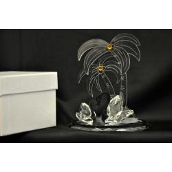 Coppia di cigni in cristallo con palme in plexi 13x8.5 H 15 con scatola