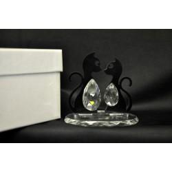 Coppia gatti in plexi e cristallo su base 9x6 H 8 con scatola