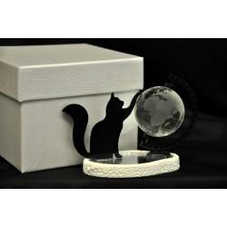 Gatto in plexi con mappamondo e dettagli in cristallo 8x5 H 7.5 con scatola