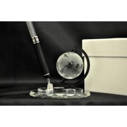 Mappamondo in vetro con porta penna su base con scatola