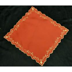 Quadrato rosso cotone con ricamo oro 23x23