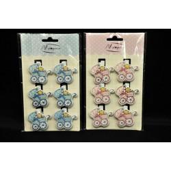 Set 6 mollettine da applicazione baby, rosa o azzurro CM 3.5x4