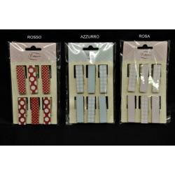 Set 6 mollettine legno da applicazione pois e scacco rosso, rosa o azzurro CM 4.5x1