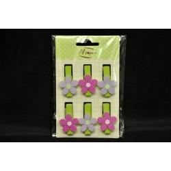 Set 6 mollettine legno da applicazione con fiorellino CM 3.5x2