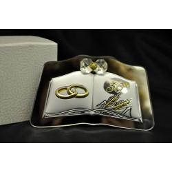 Immagine 50° anniversario argento su base specchio 12.5/10 H 7 con scatola. MADE IN ITALY