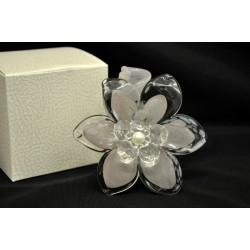 Fiore vetro tortora con pistilli cristallo H 9 con scatola