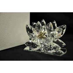 Porta lettere base specchio con mandorle di cristallo e placca 50° 9x4.5 H 6.5 con scatola