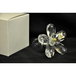 Fiore cristallo con torciglione vetro e placca 50°, CM 7.5x7.5 L. 10 con scatola.MADE IN ITALY