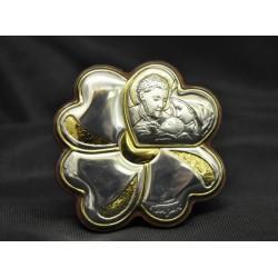 Icona argento su legno forma quadrifoglio immagine Sacra Famiglia Diam. 5.5 con scatola