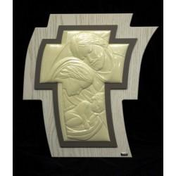 Croce immagine Sacra Famiglia madreperla su legno da appendere 43x38 con scatola