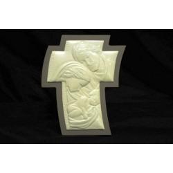 Immagine Sacra Famiglia madreperla su legno 6x7.5 con scatola
