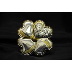 Icona argento su legno con Sacra Famiglia Diam. 7,5