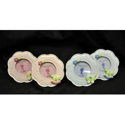 Portafoto resina con soggetti baby, rosa o azz. Diamo 5 (foto interna)