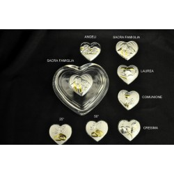 Scatola vetro forma cuore 8.5x7.5 H 4.5 con placca. SOGGETTI A SCELTA