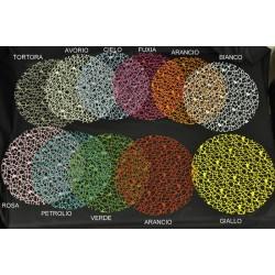 Veletta retata rotonda, un pezzo per ogni colore. 11 in tutto. Diam. 23