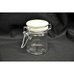 Barattolino vetro con tappo ceramica panna, chiusura ermetica Diam. 4.5 H 6.5