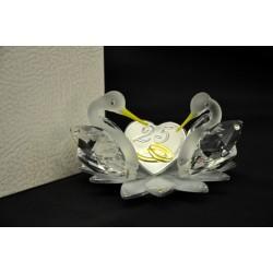 Coppia cigni vetro e cristallo su fiore vetro colorato e placca argento 25° Diam. 8 H 5 con scatola